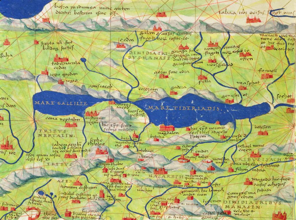 Venedig Karte.Das Meer Von Galilaa Von Einem Atlas Der Welt In 33 Karten Venedig 1 September 1553 Tinte Auf Pergament Detail Von 330966 Von Battista Agnese