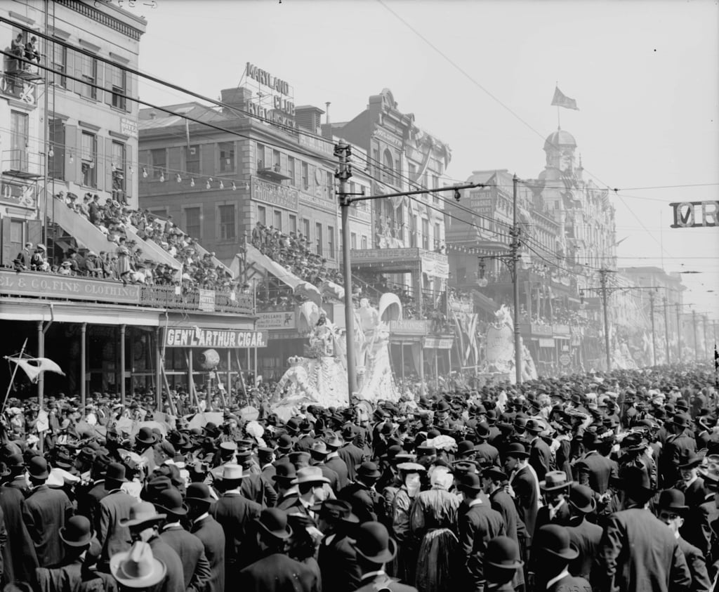 New Orleans, Louisiana, Mardi Gras Day, die Rote Festzug, c.1890-1910 von Detroit Publishing Co.