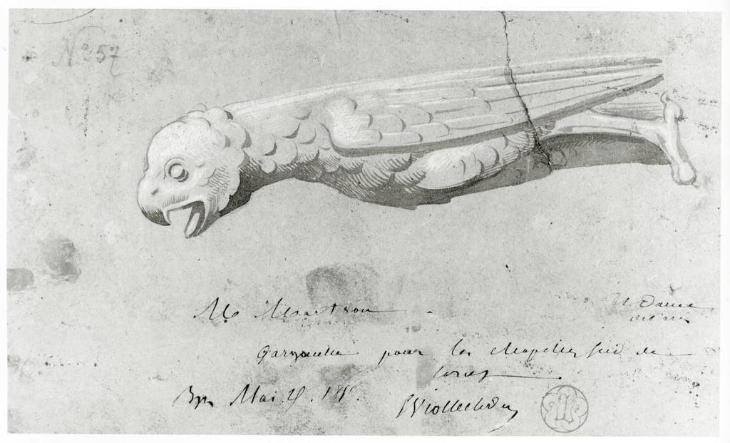 Dibujo Para La Restauración De Las Gárgolas De Notre Dame 1855 De Eugene Emmanuel Viollet Le Duc