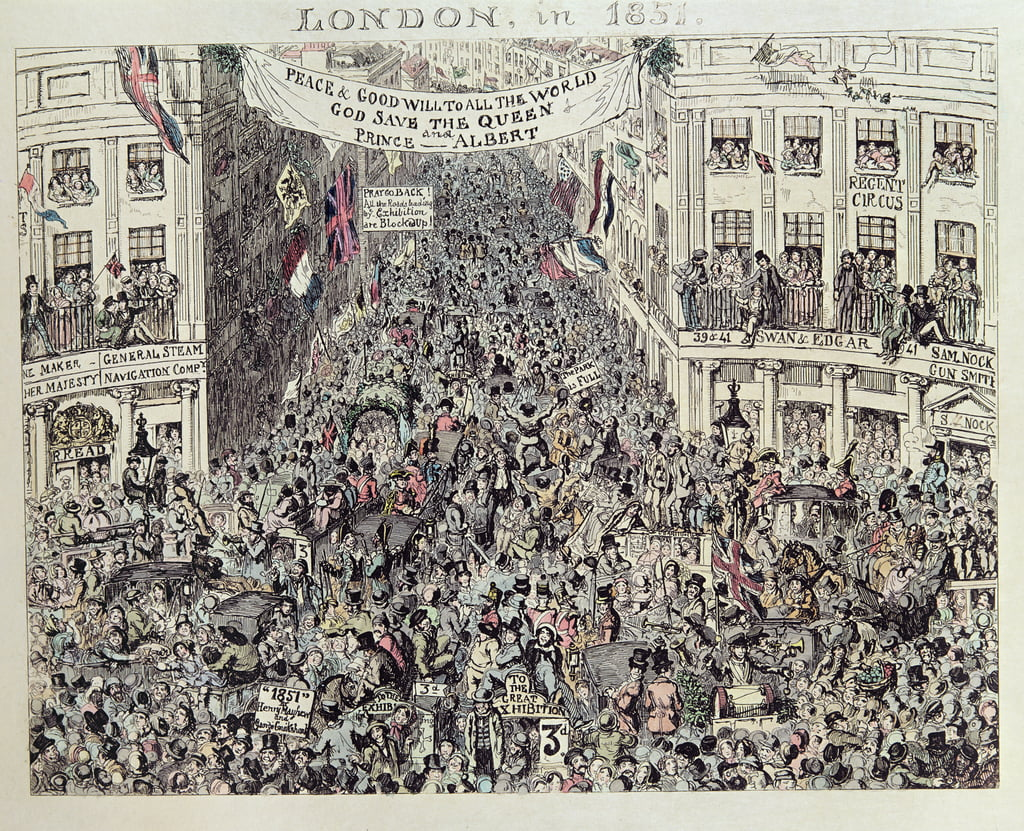 Mayhews Great Exhibiton, London, 1851 (Farbradierung) von George Cruikshank
