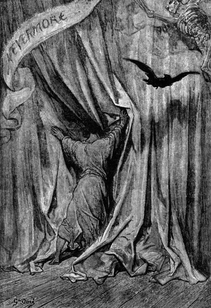 Illustration For The Poem The Crow By Edgar Allan Poe 1845 By Gustave Dore