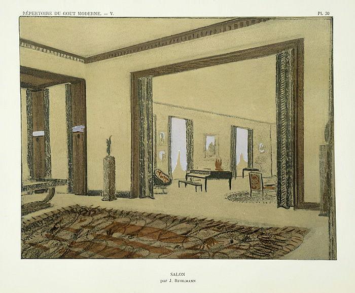 Salon, aus Repertoire of Modern Taste, veröffentlicht 1929 von Jacques  Emile Ruhlmann