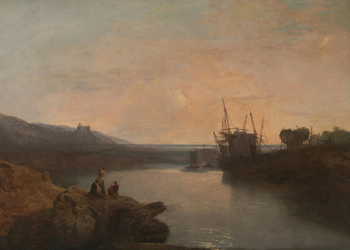 Harlech Castle, von Twgwyn Ferry, Sommers Abend Twilight von Joseph Mallord William Turner