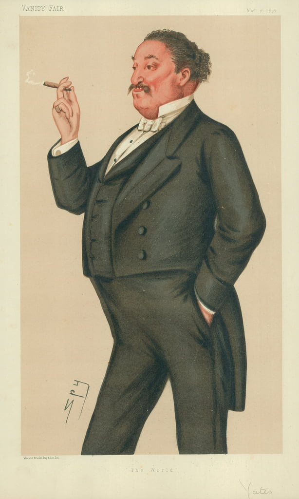 Herr Edmund Hodgson Yates, Die Welt, 16. November 1878, Vanity Fair Cartoon von Leslie Matthew Ward