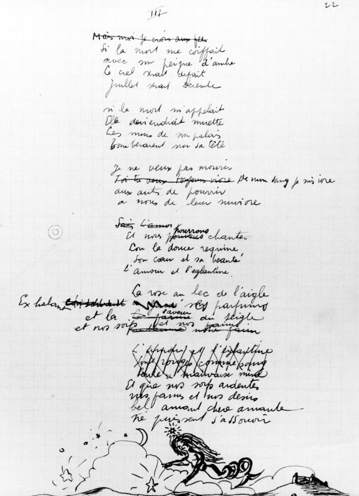 Poema 1936 7 Pluma Y Tinta En Papel De Robert Desnos