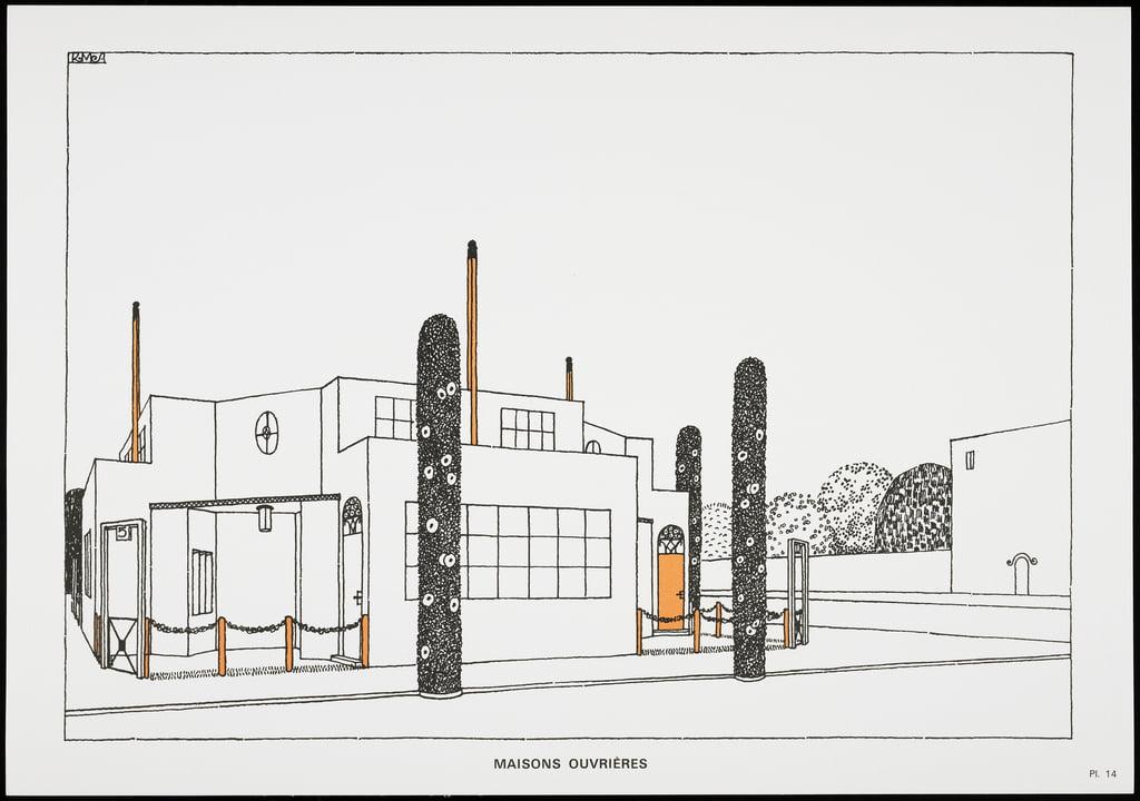 Häuser Ouvrières, aus Une Cite Moderne, Zeichnungen von Rob Mallet-Stevens  Architect, 1987 (erschienen) von Robert Mallet Stevens