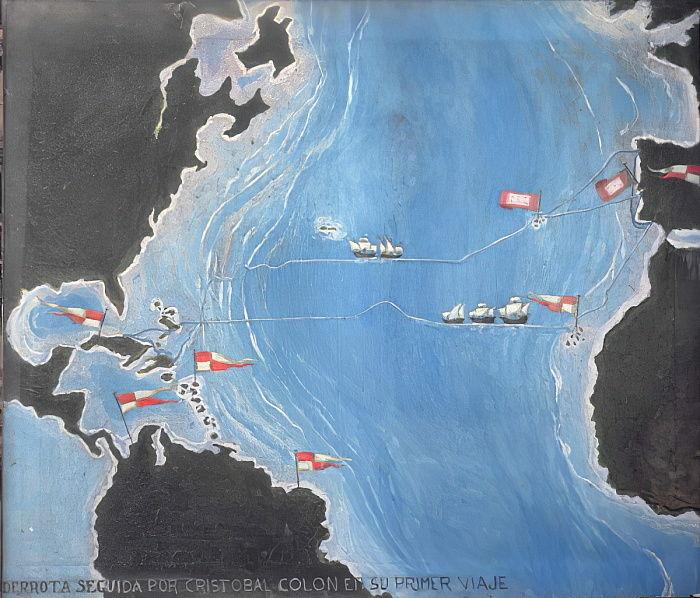 Karte mit der Route von Christoph Kolumbus auf seiner e... (#445895)