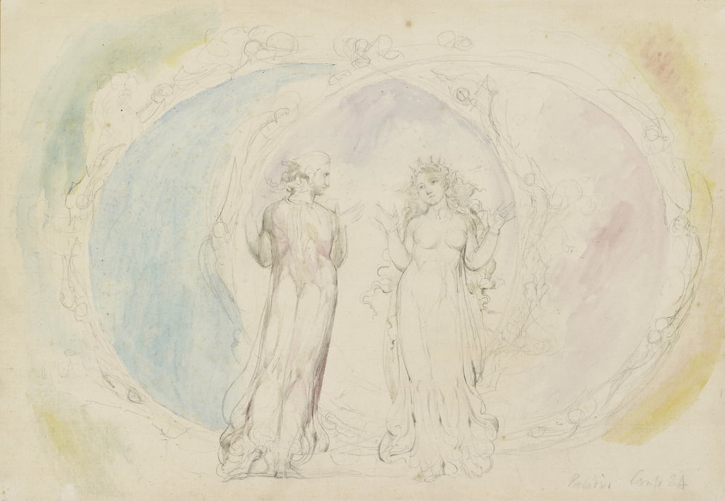 Beatrice und Dante in Zwillinge, inmitten von Spheres of Flame, Illustration zur Göttlichen Komödie, Paradiso, 1825-27 (WC mit Feder und Tusche über Graphit) von William Blake