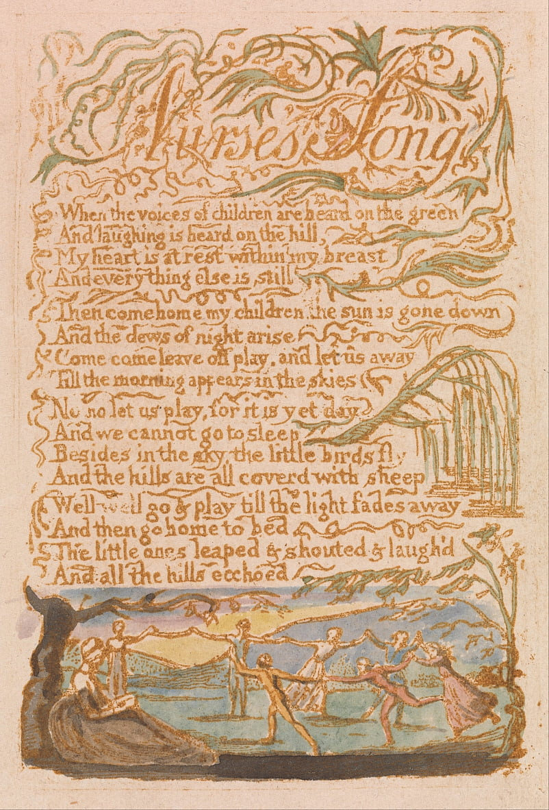 Songs of Innocence, Platte 22, Krankenschwestern Song (Bentley 38) von William Blake