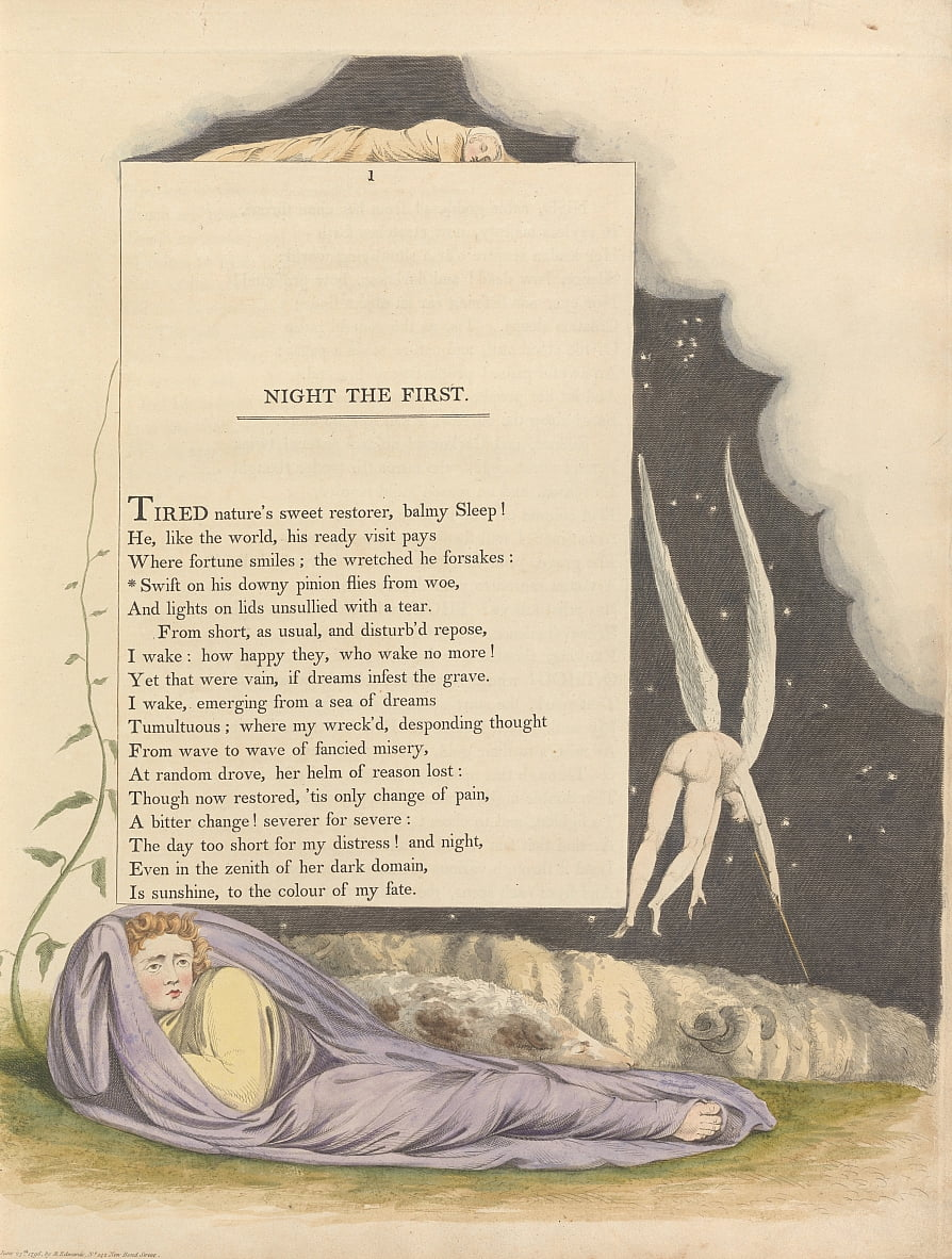 Youngs Night Thoughts, Seite 1, Swift auf seinem Downy Pinion fliegt aus Wehe von William Blake