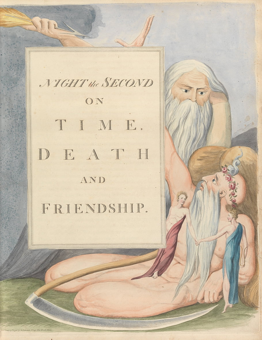 Youngs Night Thoughts, Seite 17, Night the Second, On Time, Tod und Freundschaft. von William Blake