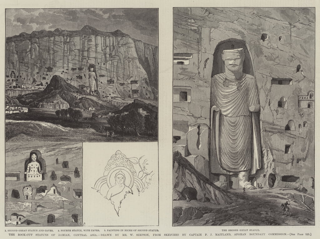 Die Rock-Cut-Statuen von Bamian, Zentralasien von William Crimea Simpson